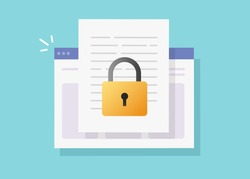 Web document secure confidential online access on internet website vector isolated or digital privacy lock protection on text file flat icon, concept of private secret electronic data padlock modern