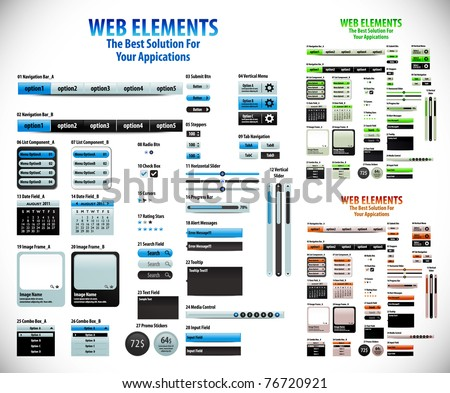Web Element and internet icon Design Template, editable illustration