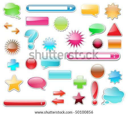 Web elements, buttons high glossy great collection, editable vector illustration.