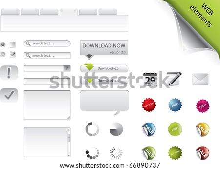 Web elements, forms, buttons and badges