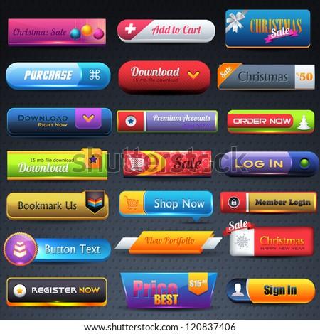 Web Elements Multicolored Shiny Different Vector Button Set