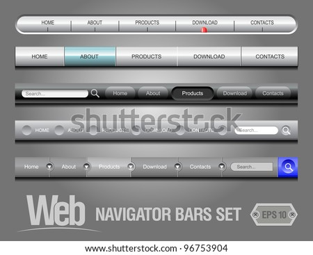 Web Elements Navigation Bar Set