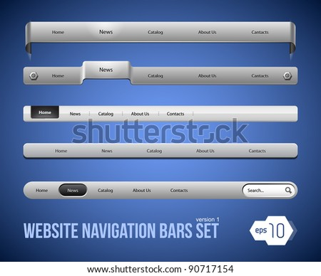 Web Elements Navigation Bar Set Version 1