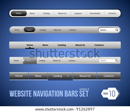Web Elements Navigation Bar Set Version 2