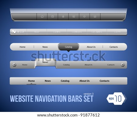 Web Elements Navigation Bar Set Version 3