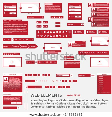 Web elements template | icon login register slideshow pagination video player search bar form options steps vertical menu buttons comments icons ratings dialog box input radio | icon pack | vector set