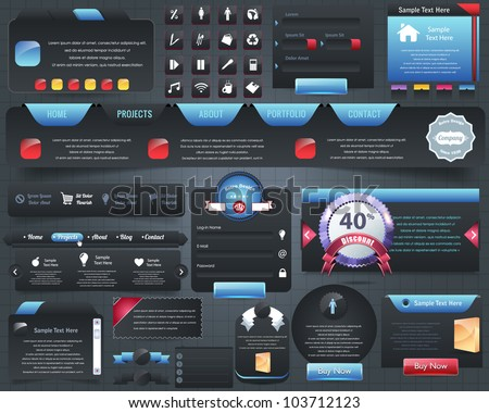 Web Elements Vector Design Set - stock vector