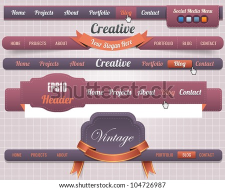 Web Elements Vector Header & Navigation Templates Set