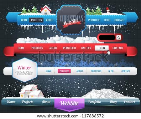 Web Elements Vector Header & Navigation Templates Set - stock vector
