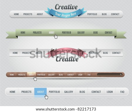 Web Elements Vector Header & Navigation Templates Set 01