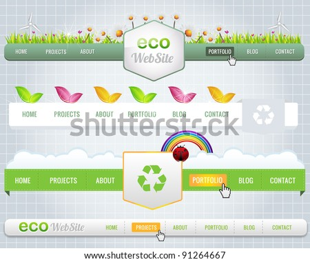 Web Elements Vector Header & Navigation Templates Set Eco Theme - stock vector