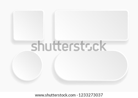 Web embossed 3d buttons. White blank 3d icons. Vector illustration
