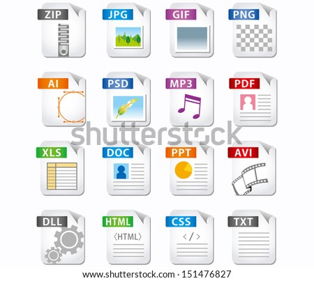 web file labels icon set