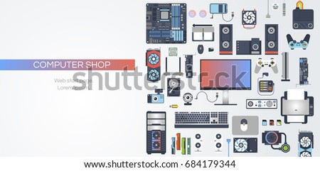 Web flat vector banner on the theme: assembling a desktop computer, buy computer, computer components. Vector set.  Modern simple and clean design.