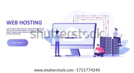 Web hosting concept. Online database, server, web data center, cloud computing, technology, computer, security. Landing page template design. Isolated modern vector illustration for web banner