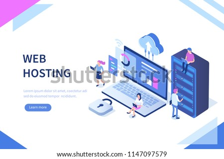 Web hosting concept with character. Can use for web banner, infographics, hero images. Flat isometric vector illustration isolated on white background.