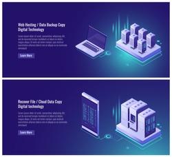 Web hosting, data backup copy, recover file concept, cloud data storage, digital technology, blockchain, server room, smartphone laptop isometric vector illustration on ultraviolet background