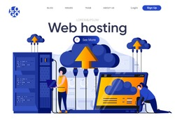 Web hosting flat landing page. IT specialists managing server equipment vector illustration. Data center computing technology, hosting and support service web page composition with people characters.