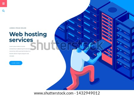 Web hosting isometric vector illustration for landing page header template or web banner with copy space for text. Male character engineer in data center room interact with server computer.
