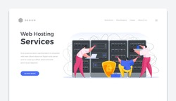 Web hosting services home page banner. Specialists in software and online security set up data servers. Secure internet connection and user data storage system with backup vector template.