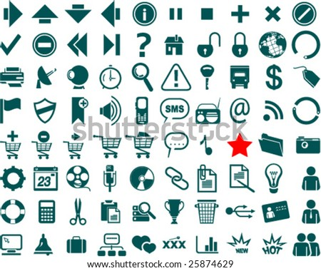 Web icon collection with 80 symbols
