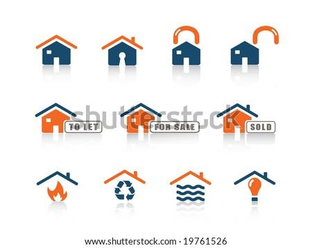 Web icon home blue orange series
