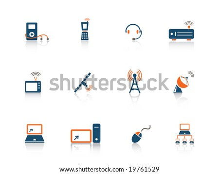 Web icon media blue orange series - stock vector