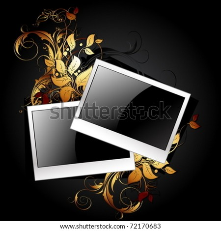 web icon photo frames with floral elements - stock vector