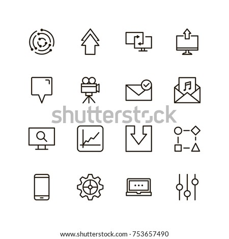 Web icon set. Collection of high quality outline website pictograms in modern flat style. Black internet symbol for web design and mobile app on white background. Social media line logo. #753657490