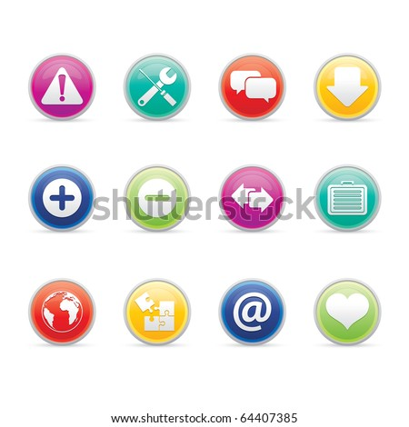 Web icon set 17 - Colored Buttons Series.  Vector EPS 8 format, easy to edit.