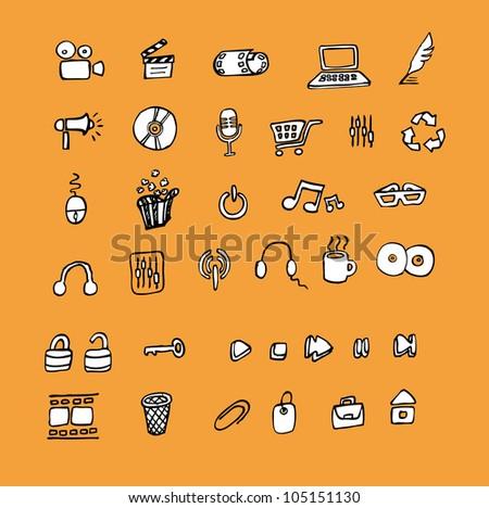 Web icon set doodle
