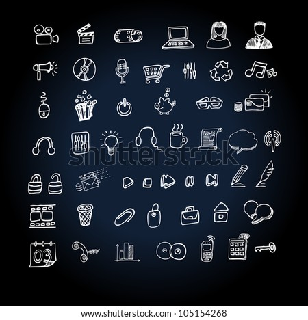 Web Icon set  doodle - stock vector