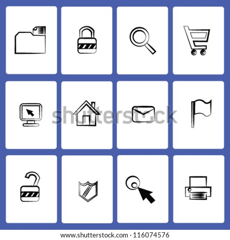 Web icon set,drawing,Vector