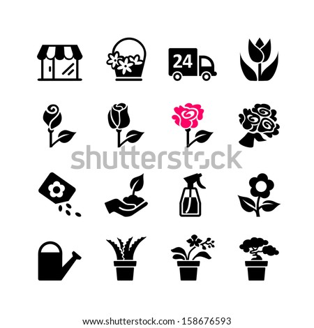 web icon set   florist  flower