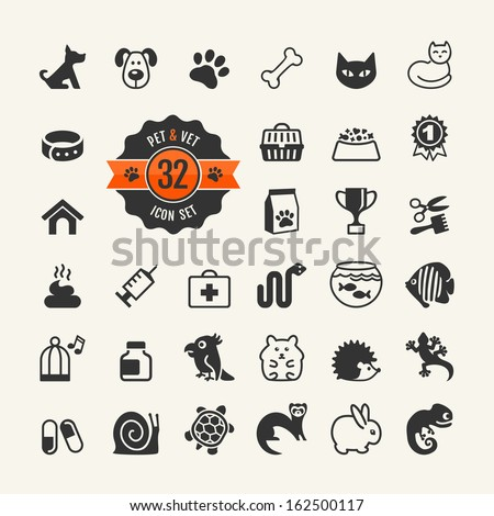 Web icon set - pet, vet, pet shop, types of pets.