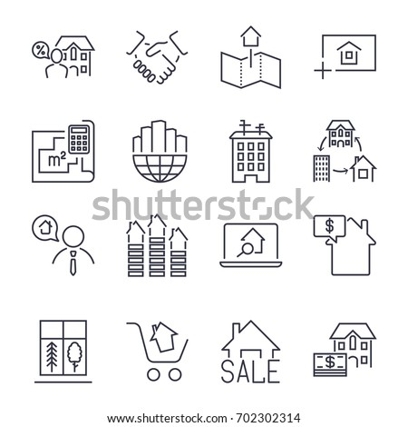 Web icon set: real estate, property, realtor, real estate buying, selling and renting signs set. Linear style illustrations isolated on white. Icon set with editable stroke