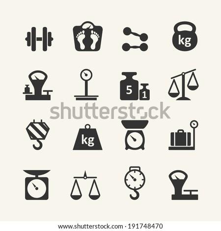 Web icon set - scales, weighing, weight, balance