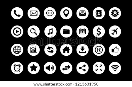 Web icon set vector, Contact us icons vector. for web computer and mobile #1213631950