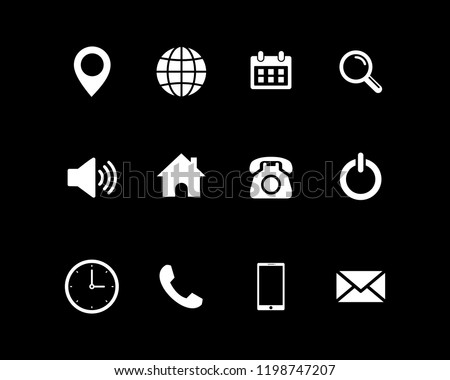 Web icon set vector, contact us set vector. for web computer and mobile