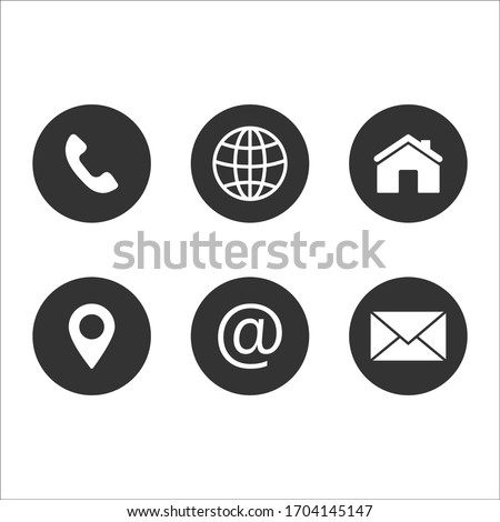 web icons, contact us icon, blog and social media round signs