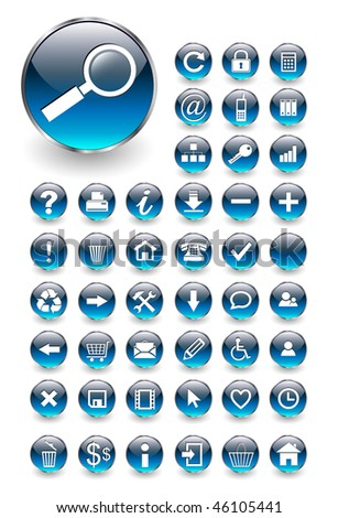 Web icons for business and office blue aqua, vector