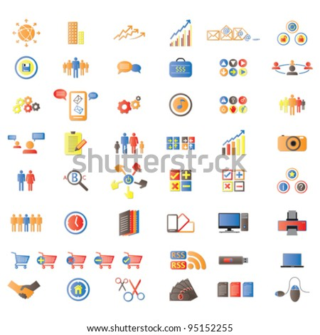 Web Icons, Internet & website icons, signs and symbols, office & universal icons, icons set, web buttons - Vector