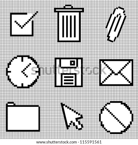 Web Icons Isolated on Graph Paper