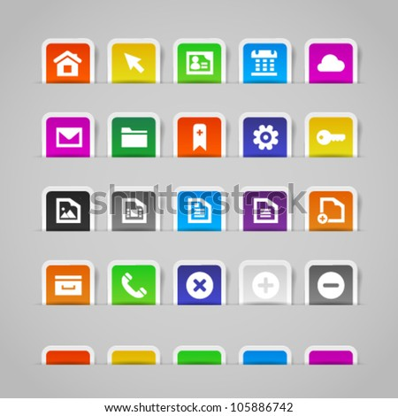 Web icons on colorful paper stickers, set 1. Image contains transparency in shadows - you can put it on every surface. 10 EPS