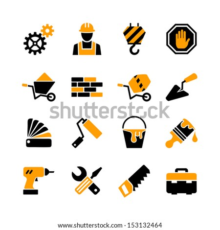 Web icons set building construction tools repair and decoration works