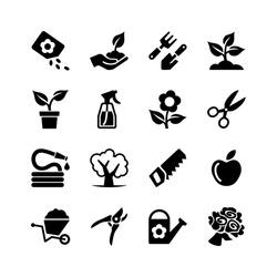 Web icons set - Gardening, tools, flowers