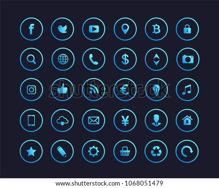 Web icons. Set of blue gradient web icons or signs .Popular round social media icons, money signs, web and mobile icons. Letter f and b.