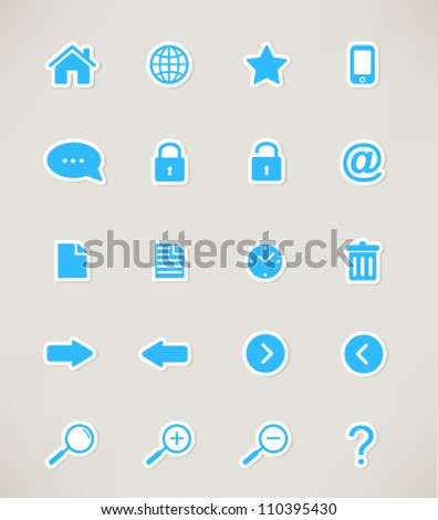 web icons set. paper stickers