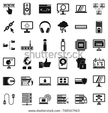 Web icons set. Simple style of 36 web vector icons for web isolated on white background