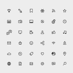 Web icons set. Site element icons.